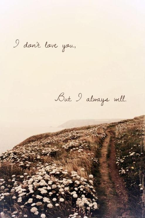 I don't love you, but I always will Picture Quote #1