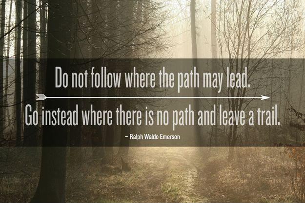 Do not follow where the path may lead. Go, instead, where there is no path and leave a trail Picture Quote #1
