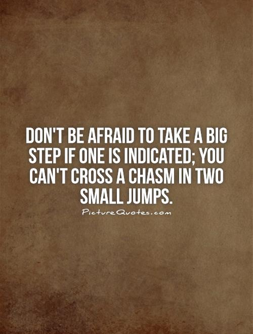 Don't be afraid to take a big step if one is indicated; you can't cross a chasm in two small jumps Picture Quote #1
