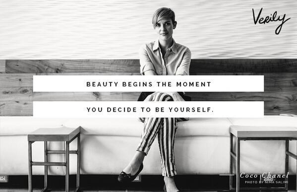 Beauty begins the moment you decide to be yourself.  Picture Quote #1