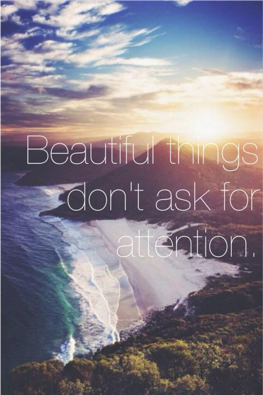 Beautiful things don't ask for attention Picture Quote #1