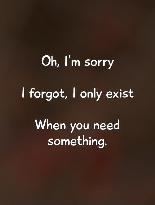 Oh, I'm sorry   I forgot, I only exist   When you need something Picture Quote #1