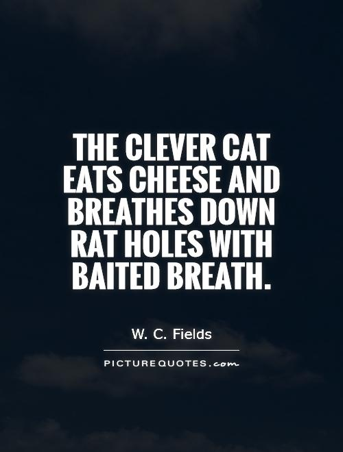 The clever cat eats cheese and breathes down rat holes with baited breath Picture Quote #1