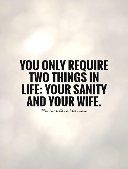 You only require two things in life: your sanity and your wife Picture Quote #1