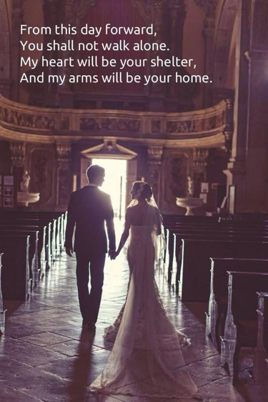 From this day forward, you shall not walk alone. My heart will be your shelter, and my arms will be your home Picture Quote #1