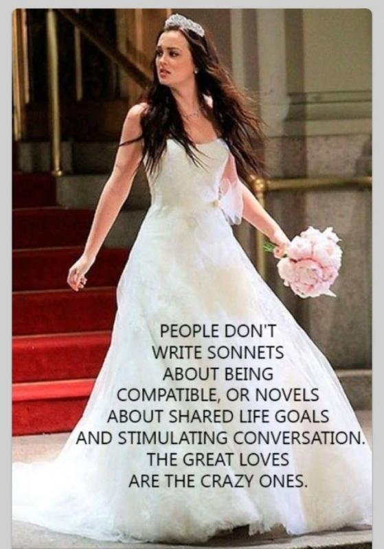 People don't write sonnets about being compatible, or novels about shared life goals and stimulating conversation. The great loves are the the crazy ones Picture Quote #1