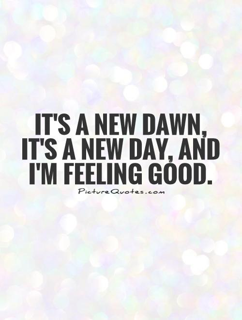 It's a new dawn, it's a new day, and I'm feeling good Picture Quote #1