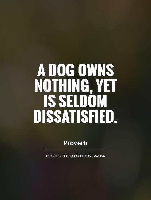 A dog owns nothing, yet  is seldom dissatisfied Picture Quote #1