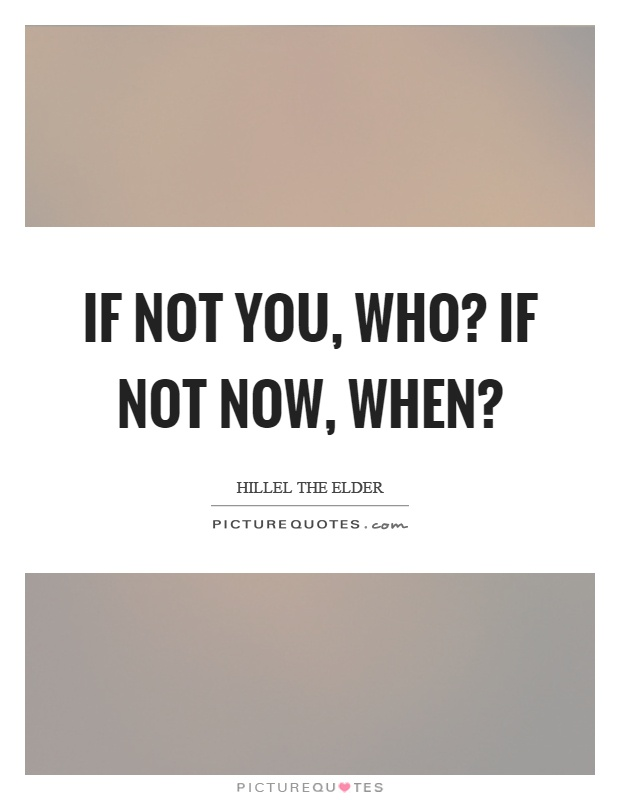 If not you, who? If not now, when? Picture Quote #1