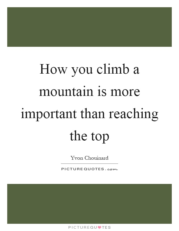 How you climb a mountain is more important than reaching the top Picture Quote #1