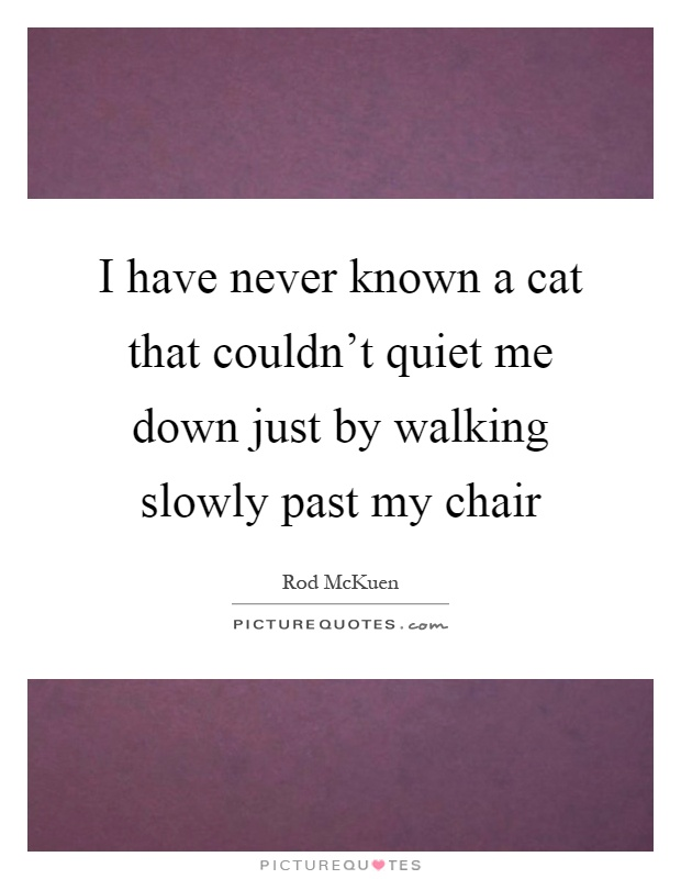 I have never known a cat that couldn't quiet me down just by walking slowly past my chair Picture Quote #1