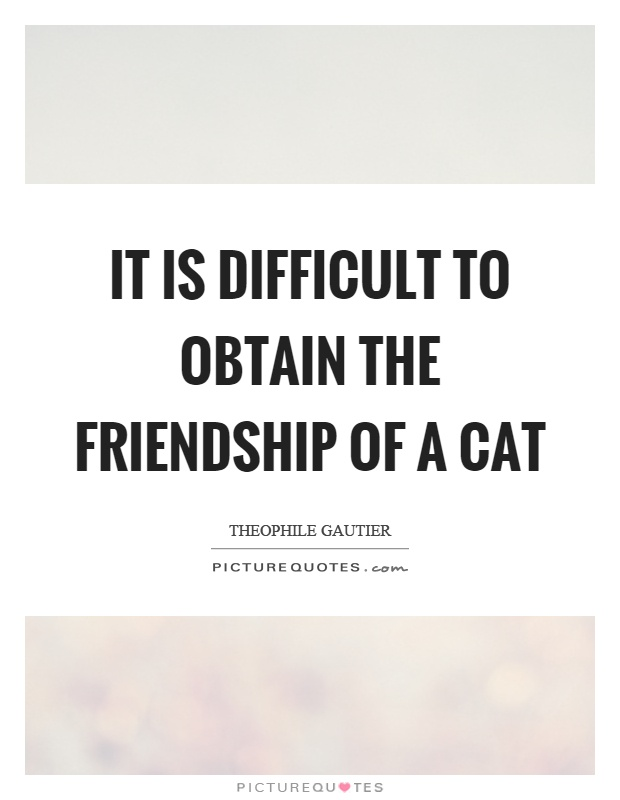 It is difficult to obtain the friendship of a cat Picture Quote #1