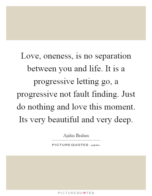Love, oneness, is no separation between you and life. It is a progressive letting go, a progressive not fault finding. Just do nothing and love this moment. Its very beautiful and very deep Picture Quote #1