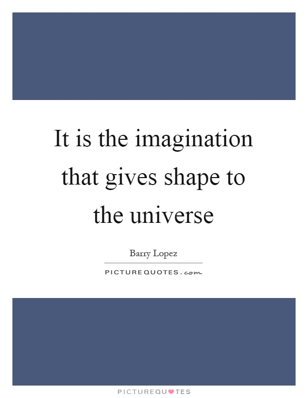 It is the imagination that gives shape to the universe Picture Quote #1