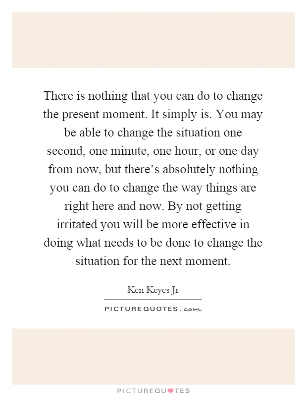 There is nothing that you can do to change the present moment. It simply is. You may be able to change the situation one second, one minute, one hour, or one day from now, but there's absolutely nothing you can do to change the way things are right here and now. By not getting irritated you will be more effective in doing what needs to be done to change the situation for the next moment Picture Quote #1