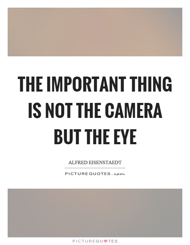 The important thing is not the camera but the eye Picture Quote #1