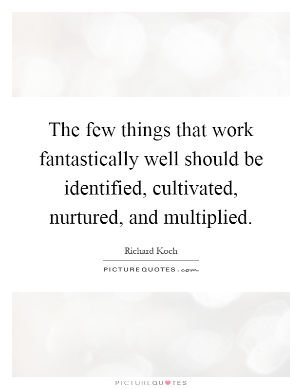 The few things that work fantastically well should be identified, cultivated, nurtured, and multiplied Picture Quote #1