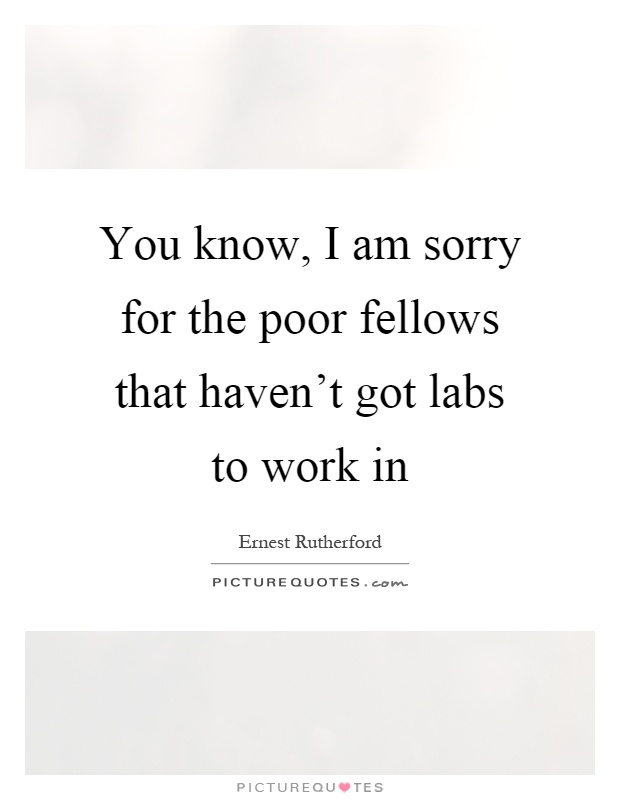 You know, I am sorry for the poor fellows that haven't got labs to work in Picture Quote #1