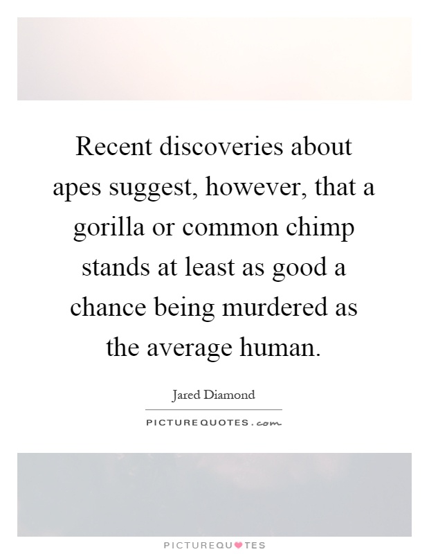 Recent discoveries about apes suggest, however, that a gorilla or common chimp stands at least as good a chance being murdered as the average human Picture Quote #1