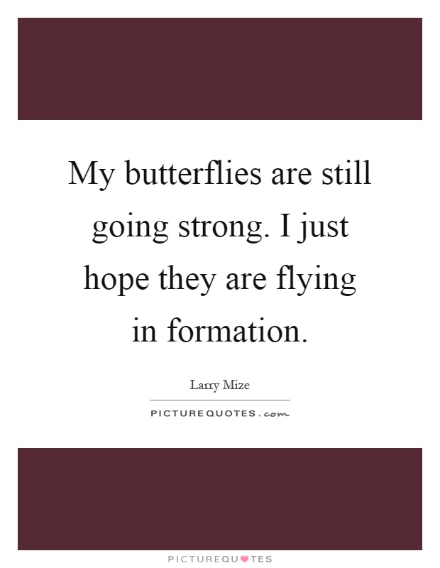 My butterflies are still going strong. I just hope they are flying in formation Picture Quote #1