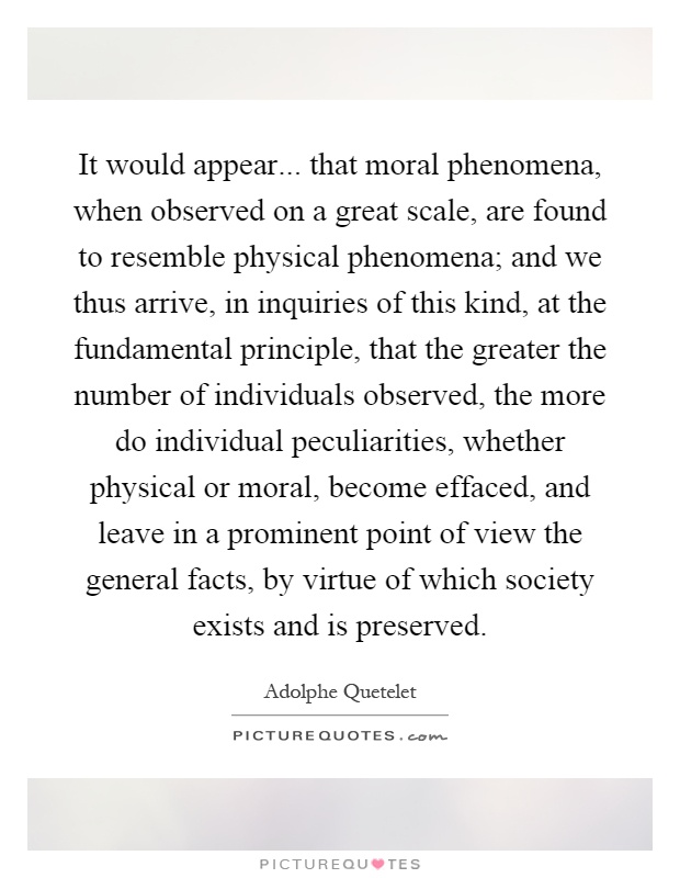 It would appear... that moral phenomena, when observed on a great scale, are found to resemble physical phenomena; and we thus arrive, in inquiries of this kind, at the fundamental principle, that the greater the number of individuals observed, the more do individual peculiarities, whether physical or moral, become effaced, and leave in a prominent point of view the general facts, by virtue of which society exists and is preserved Picture Quote #1