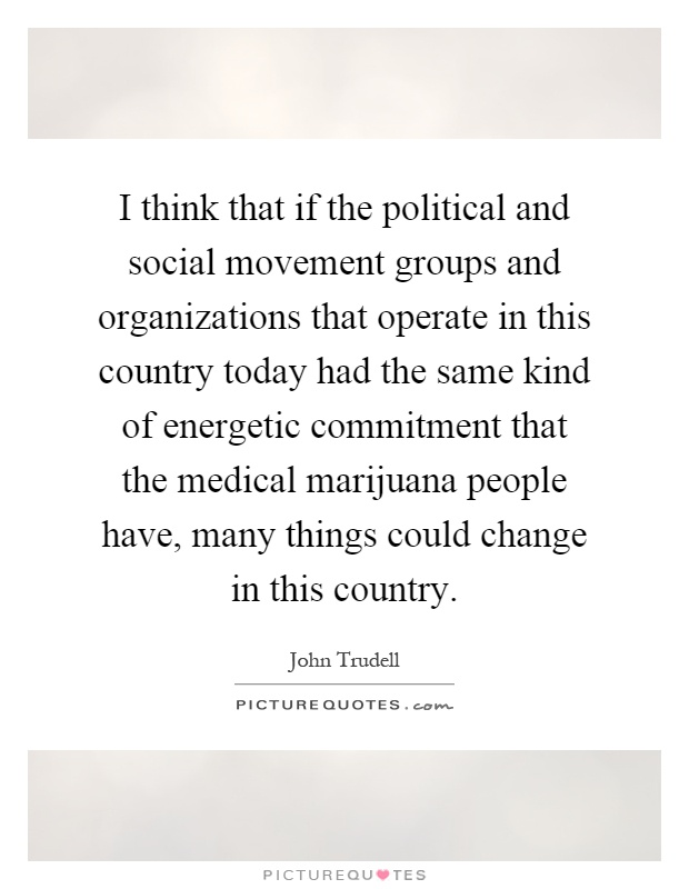 I think that if the political and social movement groups and organizations that operate in this country today had the same kind of energetic commitment that the medical marijuana people have, many things could change in this country Picture Quote #1
