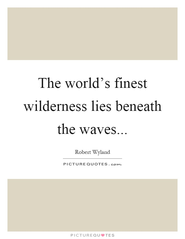 The world's finest wilderness lies beneath the waves Picture Quote #1