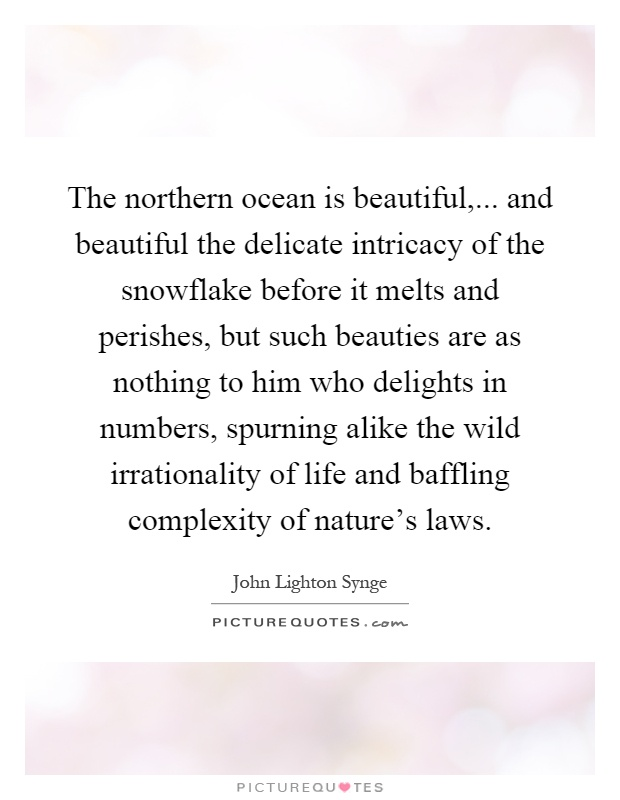 The northern ocean is beautiful,... and beautiful the delicate intricacy of the snowflake before it melts and perishes, but such beauties are as nothing to him who delights in numbers, spurning alike the wild irrationality of life and baffling complexity of nature's laws Picture Quote #1