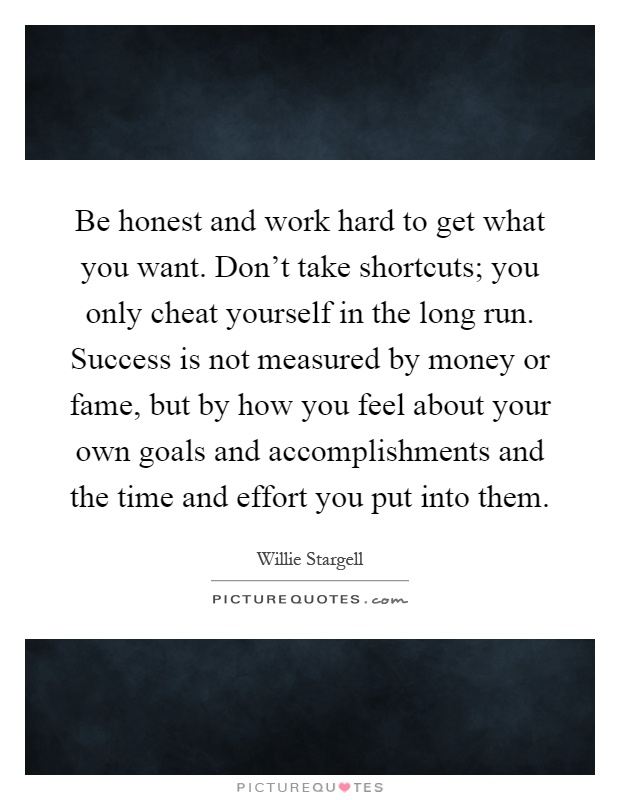 Be honest and work hard to get what you want. Don't take shortcuts; you only cheat yourself in the long run. Success is not measured by money or fame, but by how you feel about your own goals and accomplishments and the time and effort you put into them Picture Quote #1