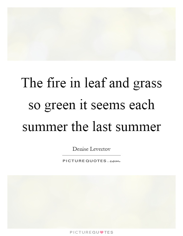 The fire in leaf and grass so green it seems each summer the last summer Picture Quote #1