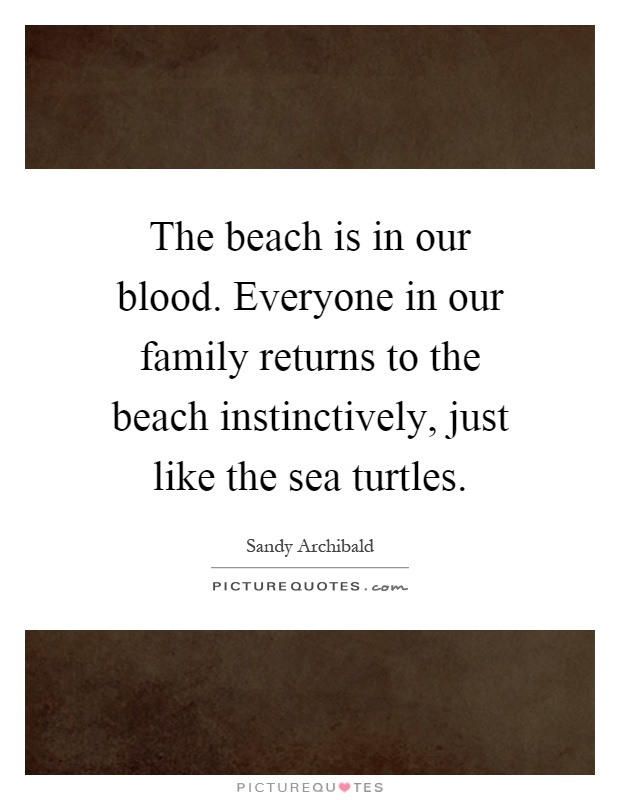 The beach is in our blood. Everyone in our family returns to the beach instinctively, just like the sea turtles Picture Quote #1