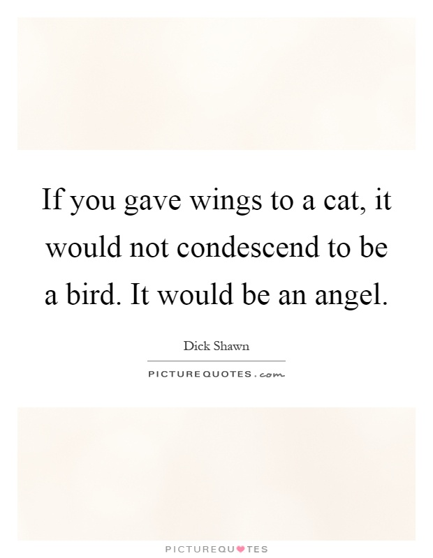 If you gave wings to a cat, it would not condescend to be a bird. It would be an angel Picture Quote #1