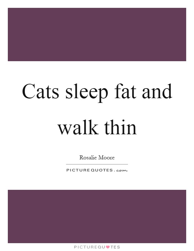 Cats sleep fat and walk thin Picture Quote #1