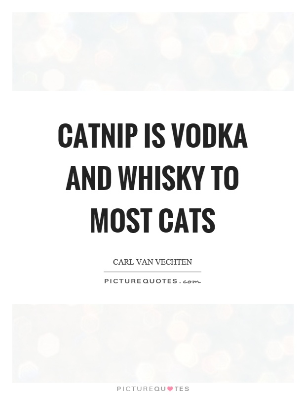 Catnip is vodka and whisky to most cats Picture Quote #1