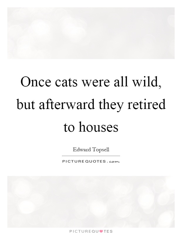 Once cats were all wild, but afterward they retired to houses Picture Quote #1