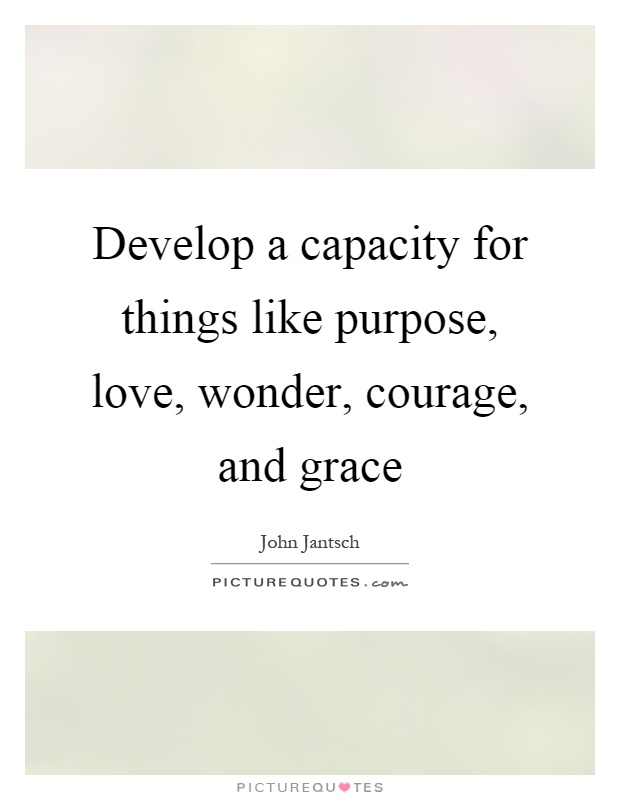 Develop a capacity for things like purpose, love, wonder, courage, and grace Picture Quote #1