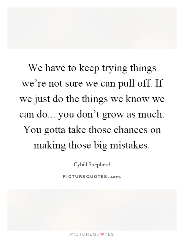 We have to keep trying things we're not sure we can pull off. If we just do the things we know we can do... you don't grow as much. You gotta take those chances on making those big mistakes Picture Quote #1