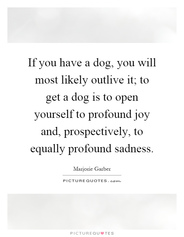 If you have a dog, you will most likely outlive it; to get a dog is to open yourself to profound joy and, prospectively, to equally profound sadness Picture Quote #1