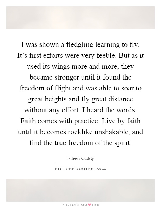I was shown a fledgling learning to fly. It's first efforts were very feeble. But as it used its wings more and more, they became stronger until it found the freedom of flight and was able to soar to great heights and fly great distance without any effort. I heard the words: Faith comes with practice. Live by faith until it becomes rocklike unshakable, and find the true freedom of the spirit Picture Quote #1