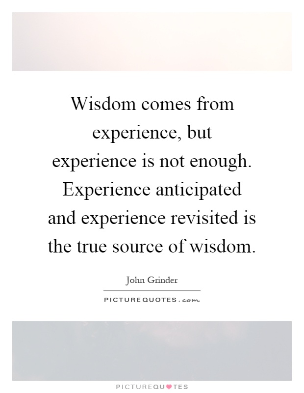 Wisdom comes from experience, but experience is not enough. Experience anticipated and experience revisited is the true source of wisdom Picture Quote #1