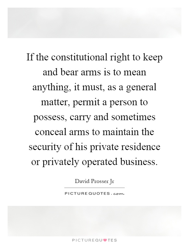 denying law abiding citizens the right to keep and bear arms is a mistake My basic, over-riding belief on the second amendment is that any case involving the right to keep and bear arms should be held to the legal standard of strict scrutiny, and that all law-abiding.