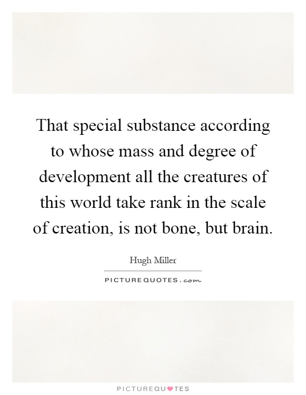 That special substance according to whose mass and degree of development all the creatures of this world take rank in the scale of creation, is not bone, but brain Picture Quote #1