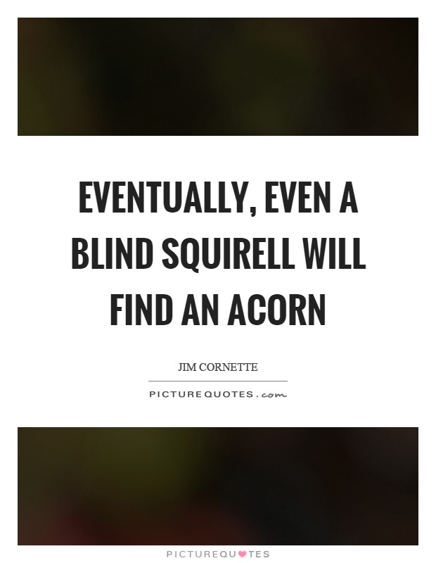 Eventually, even a blind squirell will find an acorn Picture Quote #1