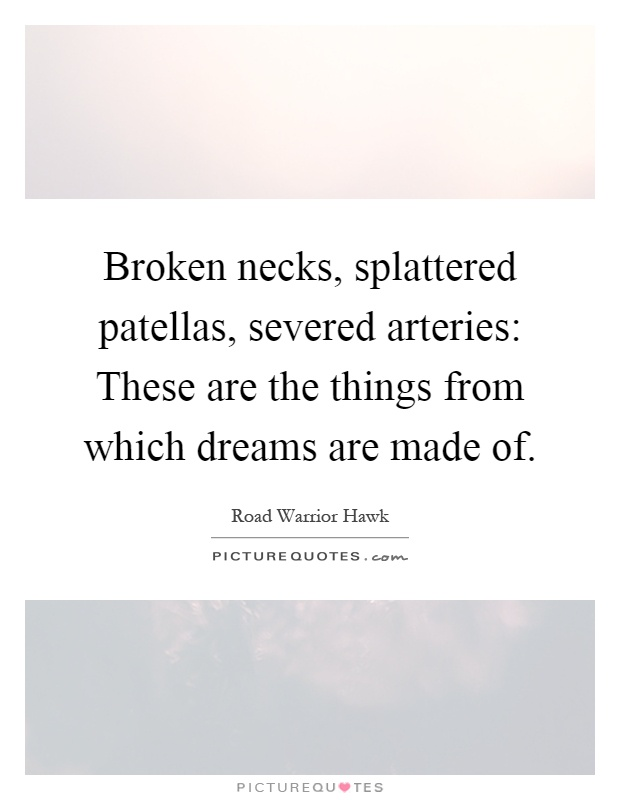 Broken necks, splattered patellas, severed arteries: These are the things from which dreams are made of Picture Quote #1