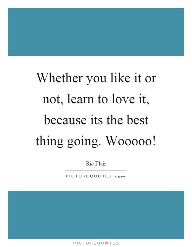 Whether you like it or not, learn to love it, because its the best thing going. Wooooo! Picture Quote #1