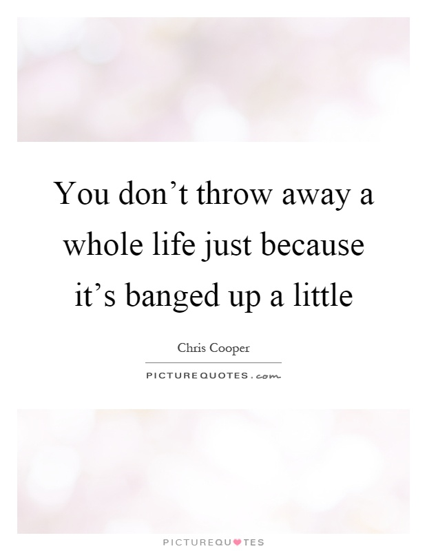 You don't throw away a whole life just because it's banged up a little Picture Quote #1