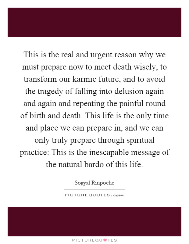 This is the real and urgent reason why we must prepare now to meet death wisely, to transform our karmic future, and to avoid the tragedy of falling into delusion again and again and repeating the painful round of birth and death. This life is the only time and place we can prepare in, and we can only truly prepare through spiritual practice: This is the inescapable message of the natural bardo of this life Picture Quote #1