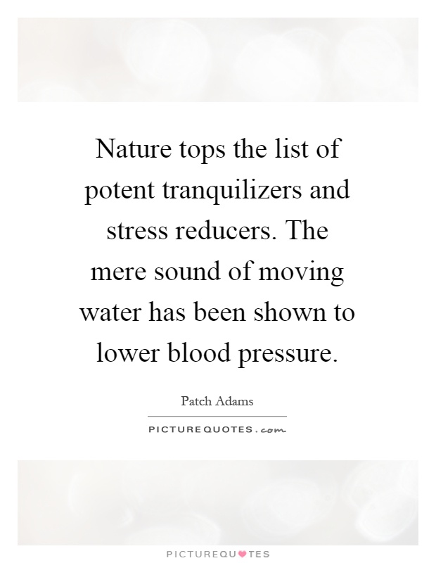 Nature tops the list of potent tranquilizers and stress reducers. The mere sound of moving water has been shown to lower blood pressure Picture Quote #1