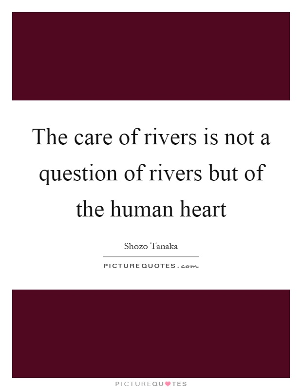 The care of rivers is not a question of rivers but of the human heart Picture Quote #1