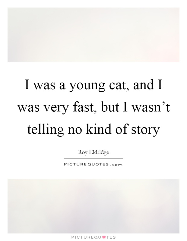 I was a young cat, and I was very fast, but I wasn't telling no kind of story Picture Quote #1